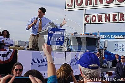 Paul Davis Ryan Rally Mitt Romney Redactionele Fotografie