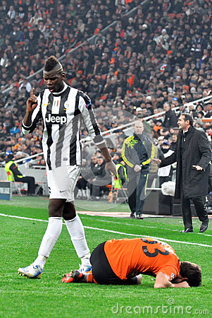 Paul Pogba near Dario Srna Editorial Image