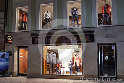 Paul & Shark store in Karlovy Vary at night Editorial Stock Photo