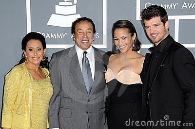Paula Patton, Robin Thicke, Smokey Robinson Editorial Image