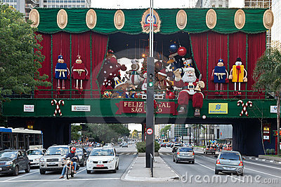 Paulista Avenue Christmas Decoration Brazil Editorial Stock Photo