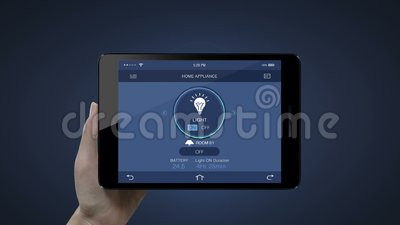 Pavé tactile, tablette IoT Home, contrôle d'économie d'énergie lumière allumée, Internet des objets, IoT smart home illustration stock