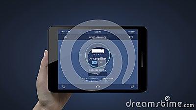 Pavé tactile, tablette IoT Home, contrôle de l'air conditionné L'Internet des objets, la maison intelligente IoT illustration de vecteur