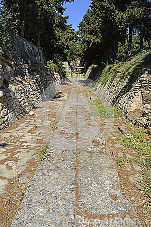 Paved road in Knossos, Crete, Greece