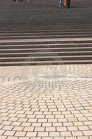 Pavement leading to broad stairways