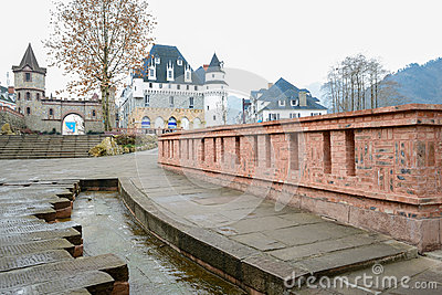 Pavement and parapet before castle