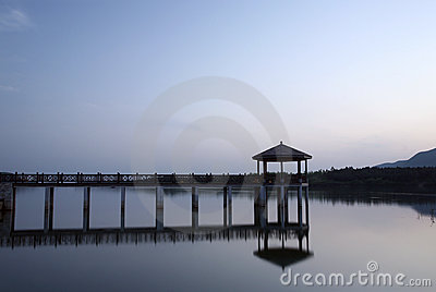 Pavilion and footbridge in the morning