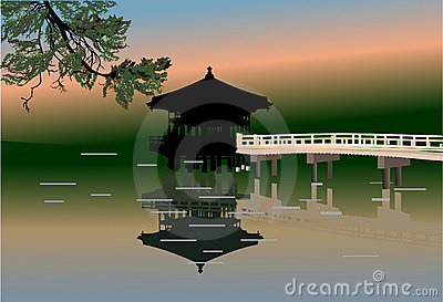 Pavilion and reflection in pond illustration