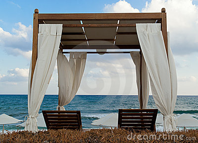 Pavilion for relax on the beach in resort