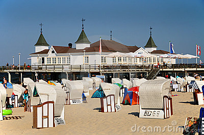 Pavillion on the beach in Ahlbeck Editorial Photo