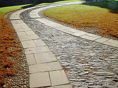 Paving in the garden of Dartington Hall