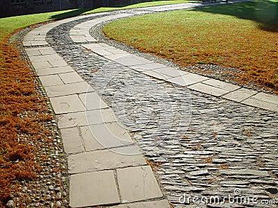 Paving in the garden of Dartington Hall