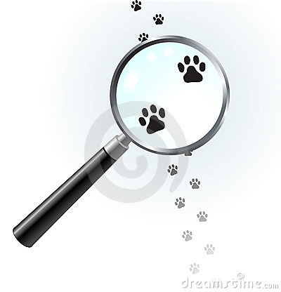 Free Paw Footprints Under Magnifying Glass Royalty Free Stock Photography - 12339667