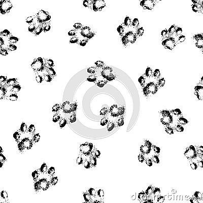 Free Paw Grunge Footprint Of Dog Or Cat Seamless Pattern Background Stock Photos - 35076653
