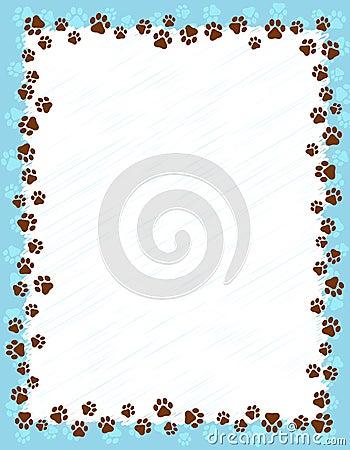 Paw prints border Vector Illustration