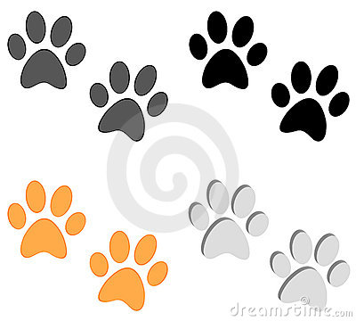 Paw prints set on white background