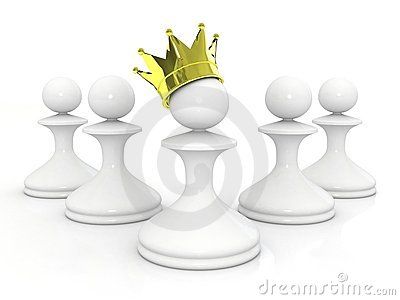 Pawn in a golden crown leadership concept