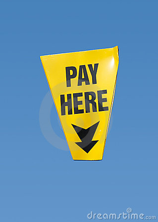 Pay here sign, isolated