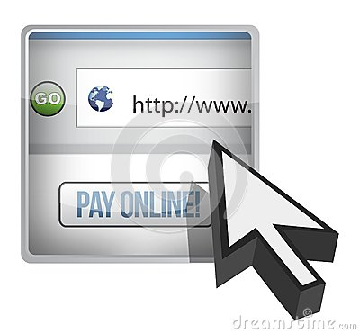 Pay online browser and cursor illustration