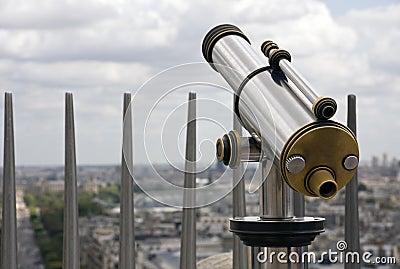 Pay telescope at travel destination