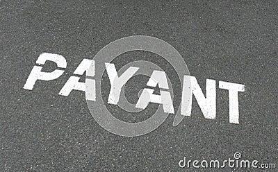 Payant tecken för fransk parkering