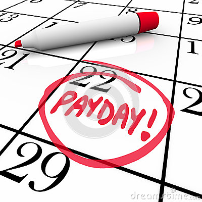 Free Payday Word Circled Calendar Income Wages Date Royalty Free Stock Photos - 31707238