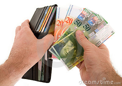 Paying Cash with Swiss Francs Currency
