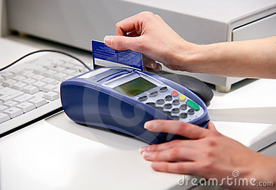 Paying with a credit card through terminal