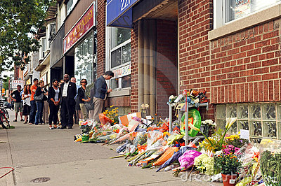 Paying respects at Jack Layton s office Editorial Image