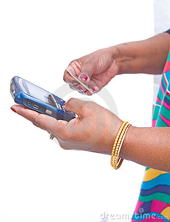 Payment by credit card using mobile phone.