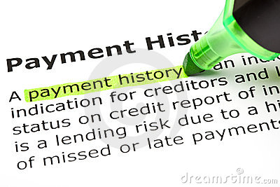 Payment history  highlighted in green