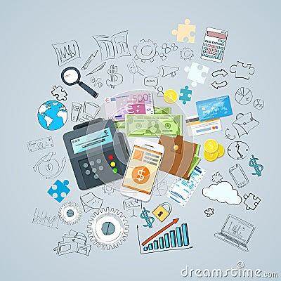 Payment Options Set Phone Money Credit Cars Wallet Vector Illustration