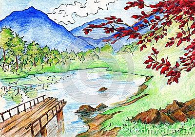 Paysage avec le lac et les montagnes