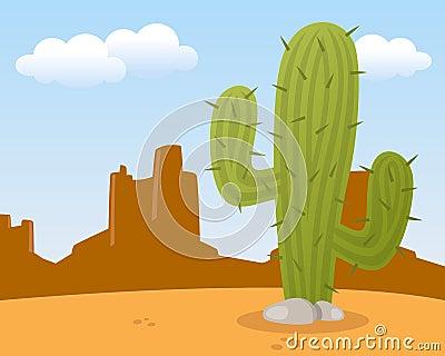 Paysage de désert avec le cactus