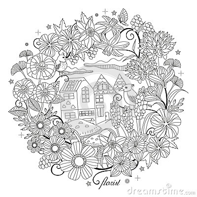 rose garden coloring page image