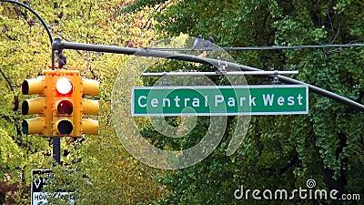 Paysages urbains occidentaux des Etats-Unis de Central Park de plaque de rue banque de vidéos