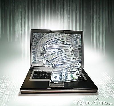 PC do portátil com dinheiro