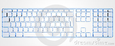 PC Keyboard  (3D xray blue)