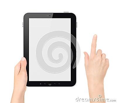 PC van de Tablet van de holding met het Raken van Geïsoleerdei Hand