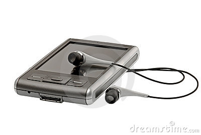 PDA with headphones close up