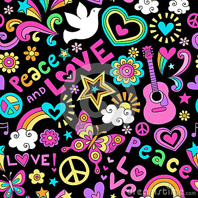 Free Peace And Love Seamless Pattern Psychedelic Doodle Royalty Free Stock Image - 33482566