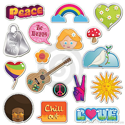 Free Peace And Love Stickers Stock Photography - 15657402