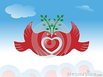 Peace bird with heart symbol
