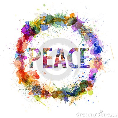 Peace concept, watercolor splashes as a sign