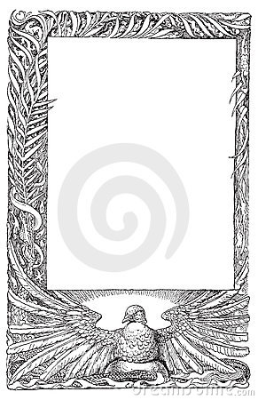 Peace dove feather  frame vector illustration