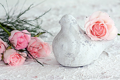 Peace Dove with Pink Roses