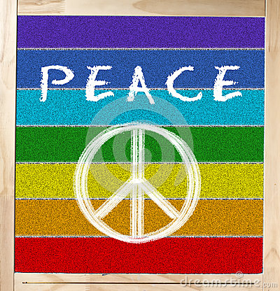 Peace Flag on Chalkboard