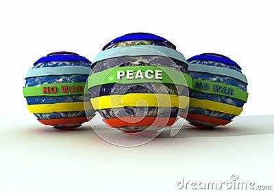 Peace globe and no-war logo