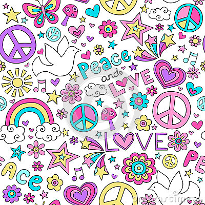 Peace and Love Dove Pattern Notebook Doodles
