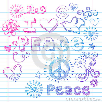 Peace Love and Dove Sketchy Doodles Vector